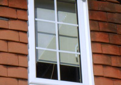 White Finish Alumiunium Georgian Window with Black Cill