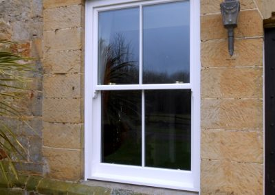 White Finish Hardwood Sliding Sash Window